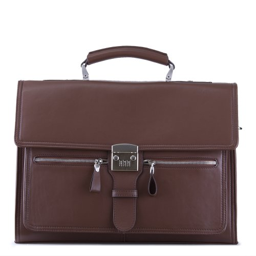 Designer Soft-Sided Leather Locking Laptop Attache Case with Shoulder (Soft Attache)