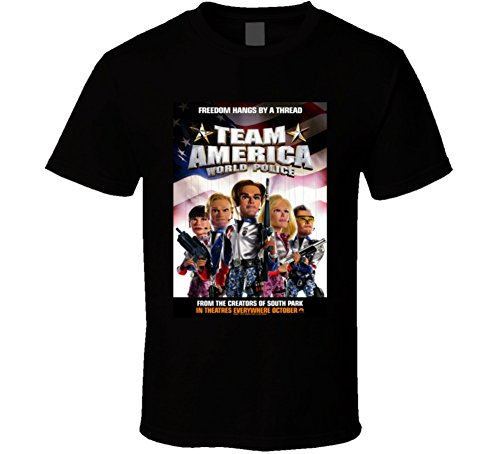 Team America World Police Cool 21st Century Comedy Classic Movie Poster Fan T Shirt L - America Shirt Team T
