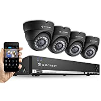 Amcrest 960H 4CH Video Security System - Four 800+ TVL Dome IP66 Weatherproof Cameras (Black) (Certified Refurbished)