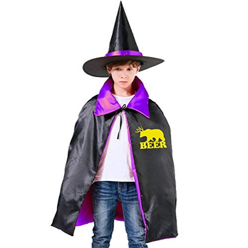 Kids Yellow Beer Halloween Party Costumes Wizard Hat Cape Cloak Pointed Cap Grils Boys -