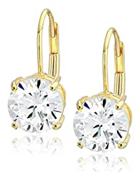 Plated Sterling Silver and Round-Cut Cubic Zirconia Lever-Back Earrings (1 cttw)