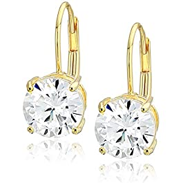 Amazon Essentials Plated Sterling Silver Cubic Zirconia Leverback Earrings (Round & Princess)