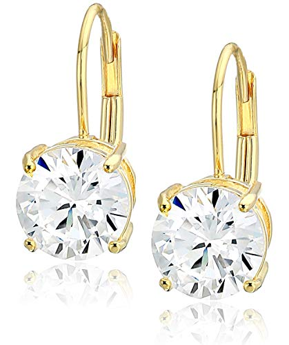 Amazon Essentials Yellow Gold Plated Sterling Silver Round Cut Cubic Zirconia Leverback Earrings (7.5mm)