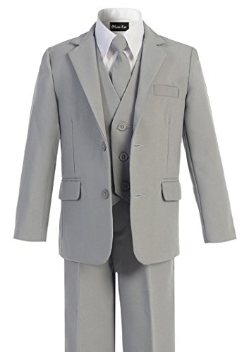 Suit Set Formal (OLIVIA KOO Boys Solid 5-Piece Formal Suit Set With Matching Neck Tie Silver 6)