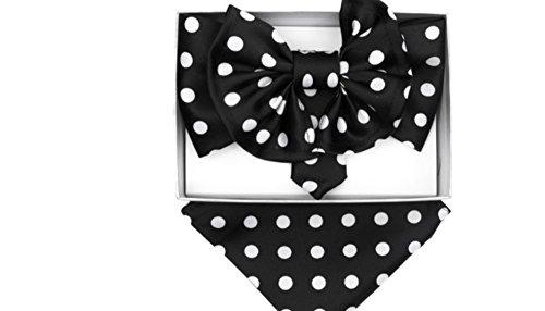 Black & White Polka Dots JUMBO Pre Tied Bow Tie & Pocket Square Hankie (Jumbo Bow Tie)