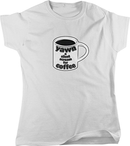 Yawn a Silent Scream for Coffee, Caffeine, Expresso, Love Coffee Women's T-shirt, NOFO Clothing Co. XL White (Senseo White Coffee Maker compare prices)