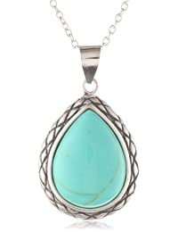 Sterling Silver Simulated Turquoise Teardrop Pendant Necklace , 18""