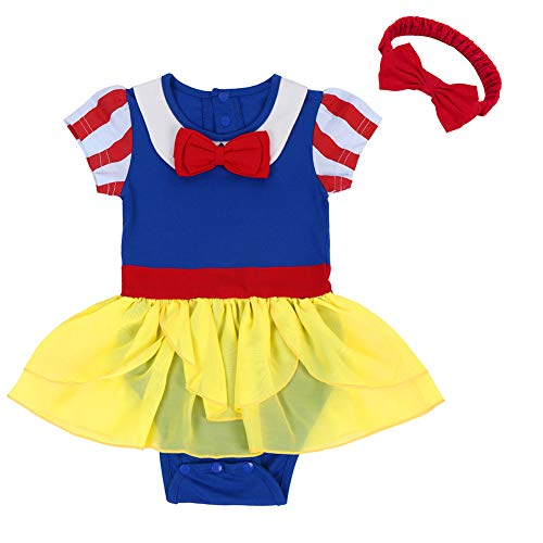 FYMNSI Newborn Baby Girls Snow White Princess Halloween Costume Birthday Bodysuit Romper Tutu Headband Outfits 0-6 Months -