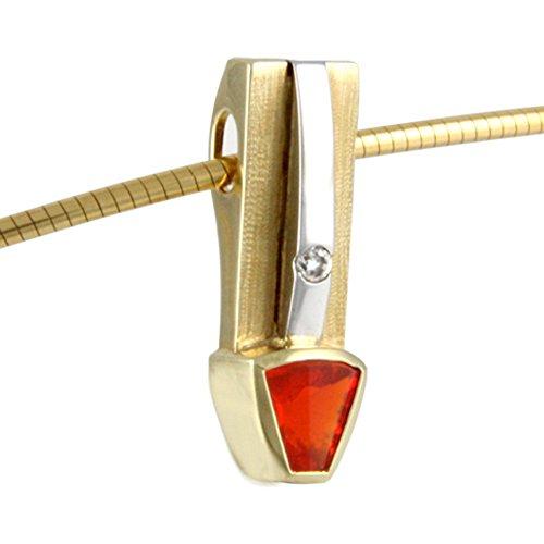skielka designschmuck unique Opale de feu Pendentif or orfèvre de travail (or jaune 585)-Gold avec Pendentif Opale de feu 0,69Cts-Opale de feu Pendentif-Opale Pendentif avec Expertise