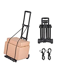 Foldable Luggage Cart, Hand Truck with 4 Wheels, Collapsible Portable Compact Lightweight and Durable Travel Trolley 60kg/130lbs Load Capacity, Metal Base