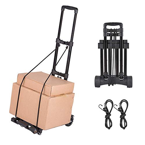 Foldable Luggage Cart, Hand Truck with 4 Wheels, Collapsible Portable Compact Lightweight and Durable Travel Trolley…
