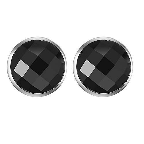 925 Sterling Silver Black Onyx Round Button Earrings Studs (Agate Ring Jewelry)