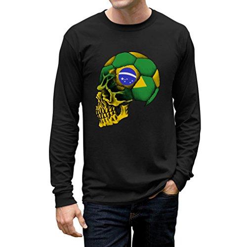 TeeStars - Brazil Flag - World Soccer Long Sleeve T-Shirt X-Large Black