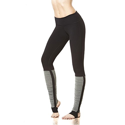 Women's Black Gym Sports Yoga Workout Leggings Stirrup Ribbed Yoga Pants (M, Grey)