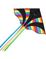 Wide Colorful Kite Rainbow Vivid Colors for Kids and Adults 60 Inches Wings, Single Line Flyer with Long Tail 95 Inches, Easy to Assemble and Fly in Seconds to Catch Wind, Including Reel and Bag, Perfect Flying Toy for Beach, Parks, Backyard and Outdoor Activities – by Tomato Toys