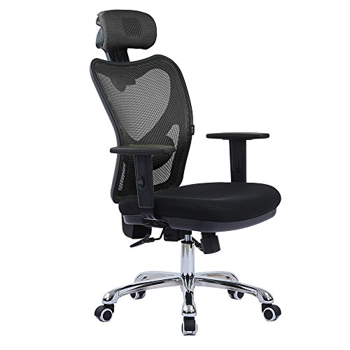 LSCING High Back Comfortable Mesh Office Chair with Adjustable Headrest, Armrest and Lumbar Support, Black