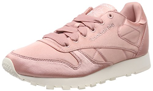 Pink White Classic 000 Sneakers Top Women's Reebok Leather Classic White Pink Pink Satin Low Chalk wxxa8PT7q
