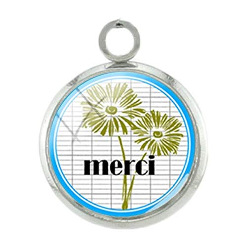 - Pendants -1Pc French Thanks Mother Teachers Pendants Charms Fashion Silver Plated 12Mm Glass Handmade DIY Gift Special Jewelry Je01 - H147