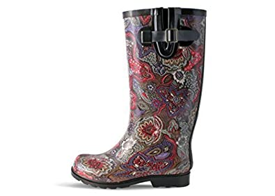 Nomad Women's Puddles Berry Paisley Rubber Rain Boot