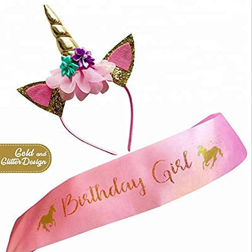 Unicorn Headband - Top Quality Set of Gold Glitter Unicorn Headband and Pink Satin Sash | Unicorn Party Supplies. EBook Histories Unicorn included (Unicorn Headband For Birthday Girls) ()