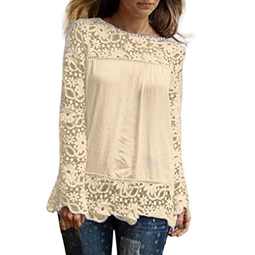 Women Plus Size Hollow Out Lace Splice Long Sleeve Shirt Casual Blouse Loose Top(Beige,Medium) by iQKA (Image #7)