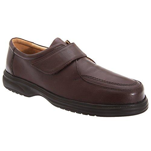 Roamers Schuhe breite Superlite Passform Klettverschluss Lederschuhe mit Herren Braun t7prq7