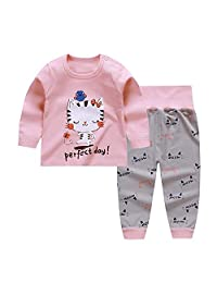 Chickwin Toddler Baby Girls Boys Pajama Set High Waist Sleepwears Pjs 2-Pack
