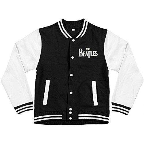 Beatles Men's Drop T Logo Varsity Jacket Medium Black (John Lennon Military Jacket)