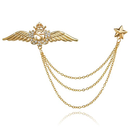 sourjas Special Jewelry Gold Tone Rhinestone Angel Wings Eagle Crown Star Chain Link Lapel Pin Brooches Collar Pins