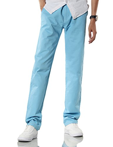 Demon&Hunter Men's Regular-Fit Light Blue Chino Trousers S9008(38)