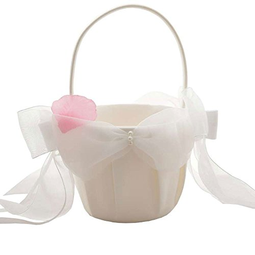 Wood Bury WoodBury Wedding Flower Girl Basket Bowknot with Pears Iovry