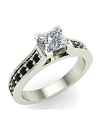 Black & White Princess Cut Engagement Ring 3/4 Carat Total Weight Diamond 14K Gold (I,I1)