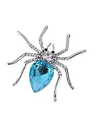 Crystal Rhinestone Gemstone Spider Animal Brooch Pin Bridal Wedding Silver