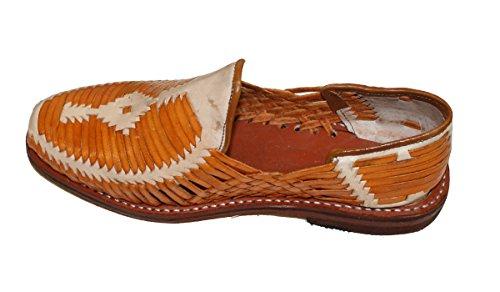 Dona Michi Uomo Vera Pelle Autentica Punta Chiusa Messicano Huarches Sandal Beige Tan