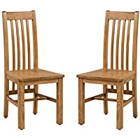 Hillsboro Wood Seat Solid Oak Chair - Set of 2 (Light Dark Oak)