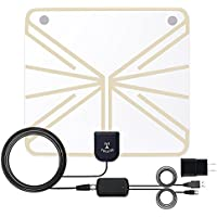 Amplified Indoor HDTV Antenna 50-60 Miles Range,Up to 70 Free Channels,Detachable Amplifier Long Range Indoor TV Antenna,16.4ft Long Coaxial Cable, 1080P High Performance