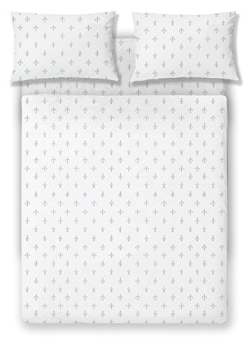 Brielle Fashion 100% Cotton Jersey Sheet Set, Queen, Fleur De Lis Blue