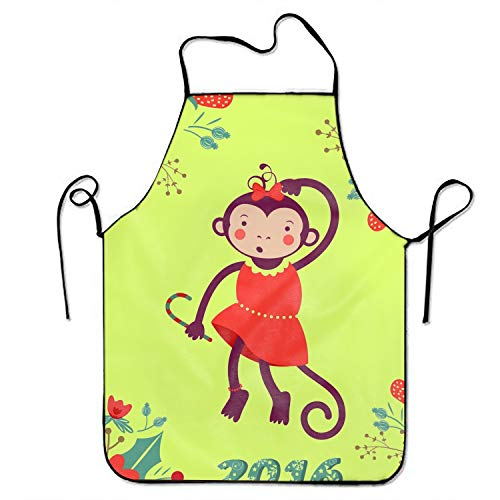 (sgdgd Polyester Fabric Women's Cute Funny Monkey Apron, Home Baking or Kitchen Cooking, Graceful and Flirty)