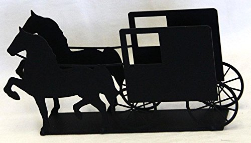 Wrought Iron Horse & Buggy Napkin Holder - Hand Made By Amish