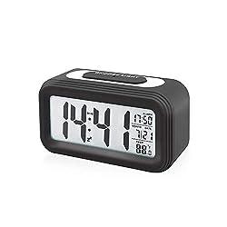 Digital Alarm Clock Battery Operated with Calendar,Temperature, Smart Sensor Light,Snooze,Ascending Sound Alarm for Desk,Office,Bedrooms,Kids (Black)