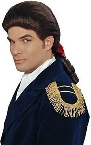 OvedcRay Adult White Brown Duke Colonial Captain Patriot George Washington Costume (Mens Colonial Wig)