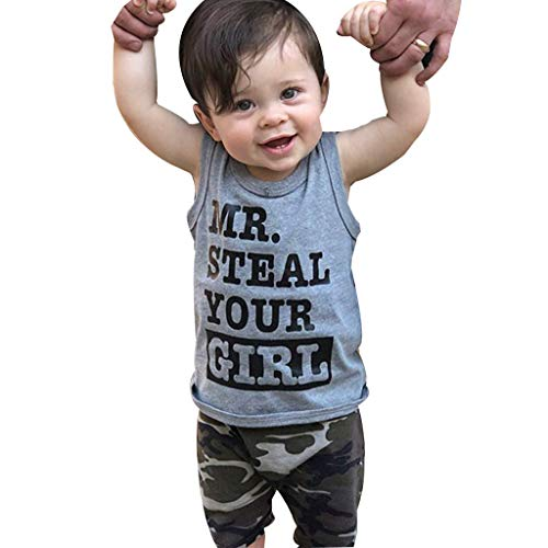 Girls Summer Dresses Size 10-12,Toddler Baby Boy Clothes Vest T Shirt Tops+Camouflage Shorts Pants Outfits Set,Gray,6-12M