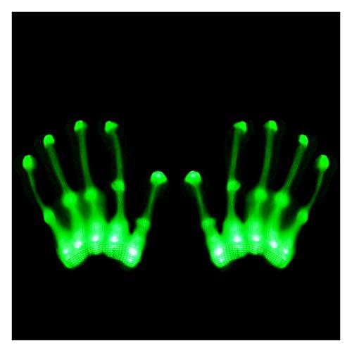 GlowCity Light Up LED Skeleton Hand Gloves Green