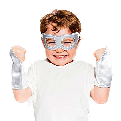 Silver Superhero Eye Mask and Powerbands