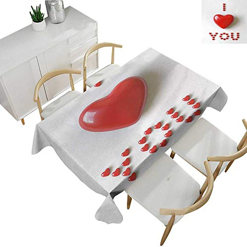 I Love You,Cheap tablecloths 3D Illustration of a Heart Lays in Between Words Made with Heart Shaped Font Table Cover for Outdoor and Indoor Red White 52