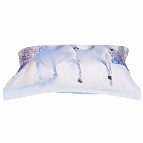 Alicemall 3D Horse Bedding Comforter Set White Snow Horse Digital Printing 5 Pieces Comforter Set Digital Bedding Set, Queen Size (2 Pillowcases, Flat Sheet, Comforter, Duvet Cover) (Queen, White) by Alicemall (Image #4)