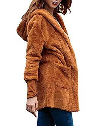 Women's Open Front Hooded Cardigan Coats Loose Outwear at