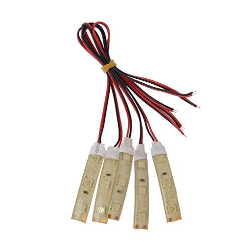 luz blanca l/ámpara extra brillante y ahorradora de energ/ía DC 12V WDTong 5 piezas SMD impermeable DC12V-5050 L/ámpara de tira flexible de 3 LED