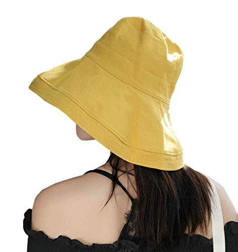 FaroDor Women Reversible Bucket Hat UV Sun Protection Wide Brim Summer Beach Hat Packable Yellow - Large Brim Bucket