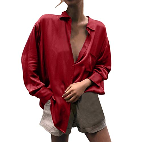 - Aunimeifly Woman's Solid Color Long Sleeve Button Top Ladies Mercerized Silk Soft Loose T-Shirt Red